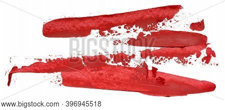 Hand Drawn Isolated Oil Paintbrush Stripe With Deep Dirty Red Color Esp 10 Vector Illustration. Temp