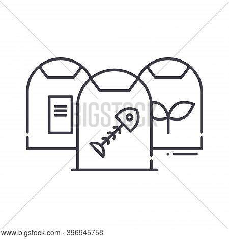 Garbage Segregation Icon, Linear Isolated Illustration, Thin Line Vector, Web Design Sign, Outline C