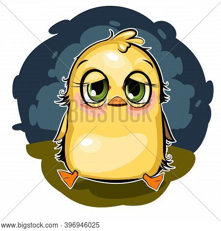 Sleepy Duckling. Funny Chick. Wants To Sleep. Cute And Funny Baby Bird. The Isolated Object On A Whi
