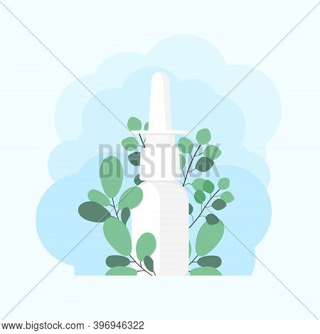 Nasal Spray With Eucalyptus Branches. Using Sprays To Ease Breathing During Allergy And Illness. Con