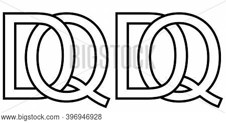 Logo Qd Dq Icon Sign Two Interlaced Letters Q D, Vector Logo Qd Dq First Capital Letters Pattern Alp