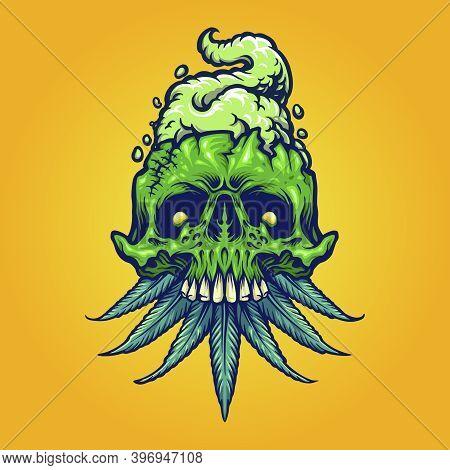 Cannabis, Vintage, Head, Cannabidiol, Legalize, Herbicide, Growth, Weed Killer,  Design, Vector, Lea