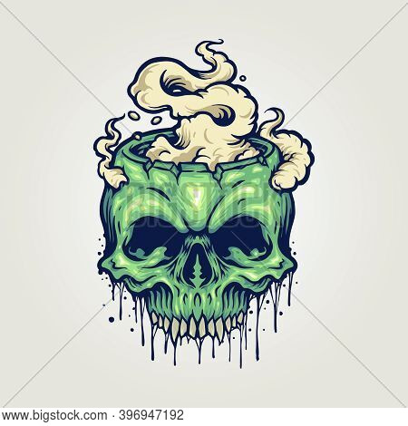 Head Zombie Skull Cannabis Smoke For Your Work Logo Merchandise Clothing Line, Stickers And Poster,