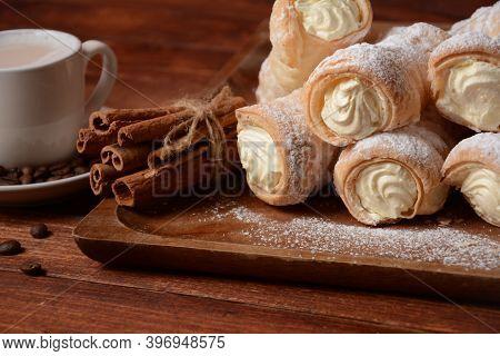 Elegant French Cream Horn Pastries. Delicious Cream Horns Filled With Vanilla Cream