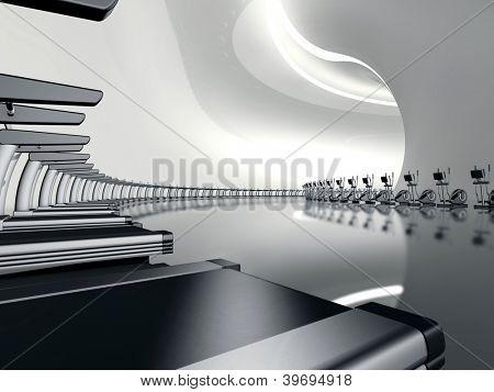 Futuristic modern big gym with treadmill and elliptical cross trainer