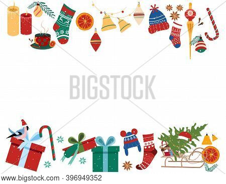 Christmas Frame Set With Traditional Symbols Of Winter Holidays.happy New Year 2021 Concept.free Spa