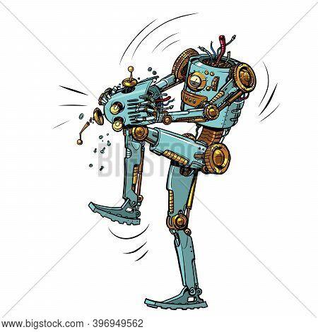 Mad Robot Breaks Itself. Pop Art Retro Vector Illustration 50s 60s Kitsch Vintage Style