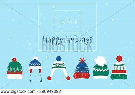 Knitted Headwear Collection,warm Scandinavian Winter Hats And Caps.merry Christmas And Happy New Yea