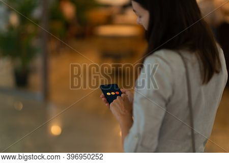 Online Review After Visiting The Store Or Service. Feedback. A Young Woman Uses The Feedback Service