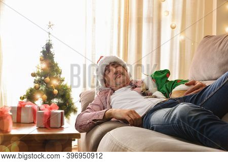 Man Sleeping With His Dog At Christmas Parties On A Sofa In A Noel Outfit With Background Decorated