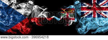 Czech Republic, Czech Vs Fiji, Fijian Smoky Mystic Flags Placed Side By Side. Thick Colored Silky Ab