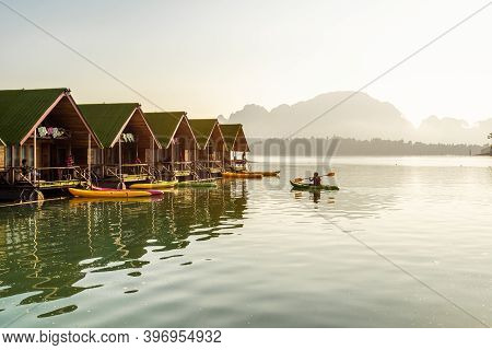 Surat Thani, Thailand - 28 December 2019 - Floating Bangalows Wait For Tourists To Arrive At Cheow L