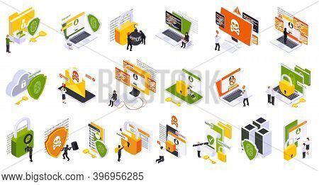 Cyber Security Spyware Data Protection Isometric Set Of Icons With Pictograms Human Characters And C