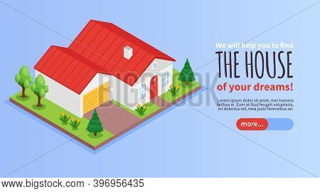 Estate Agency Horizontal Isometric Banner With Private House And Garage Exterior 3d Vector Illustrat