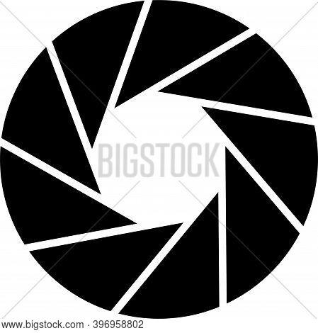 Vector Illustration Of Black Isolated Camera Lens Aperture Aperture Symbol