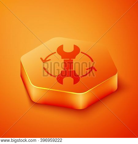 Isometric Wrench Spanner And Arrows As Workflow Icon Isolated On Orange Background. Adjusting, Servi