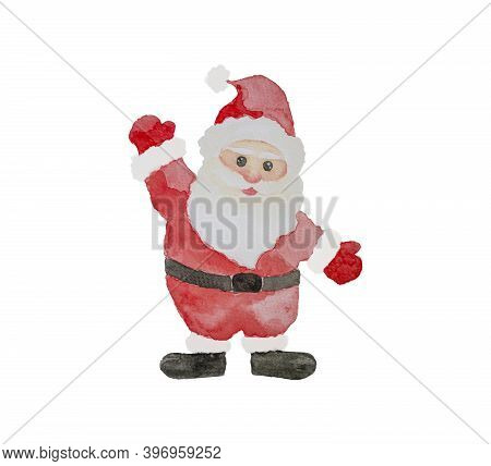 Watercolor Hand Painting Illustration Of Santa Claus Isolated On White Background With Clipping Path