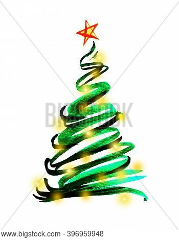 Water Color Hand Painting Illustration Of Christmas Tree Decorated With Yellow Lighting And Star On