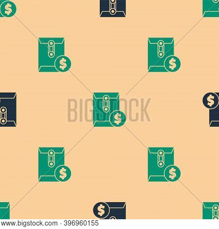 Green And Black Envelope With Coin Dollar Symbol Icon Isolated Seamless Pattern On Beige Background.