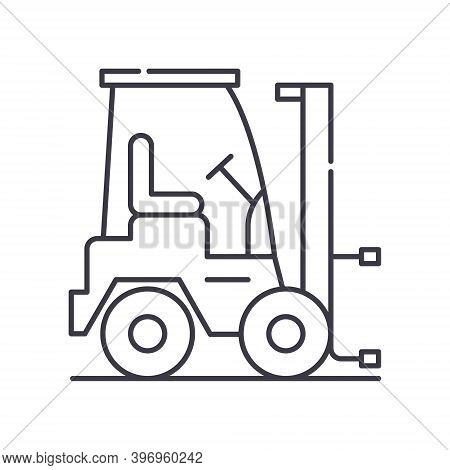 Forklift Crane Icon, Linear Isolated Illustration, Thin Line Vector, Web Design Sign, Outline Concep