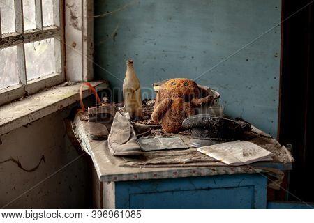 Teddy Bear Or Cheburashka In Ursery School In Abandoned Pripyat City In Chernobyl Exclusion Zone, Uk