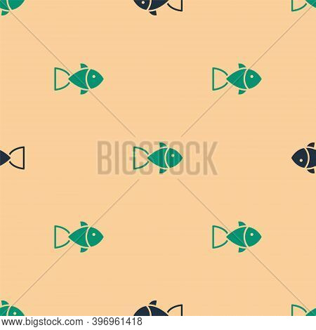 Green And Black Fish Icon Isolated Seamless Pattern On Beige Background. Vector