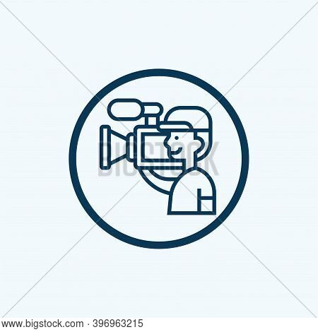 Cameraman Black Glyph Icon. Filmmaking And Videography. Cinematography Industry. Professional Camera