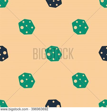Green And Black Asteroid Icon Isolated Seamless Pattern On Beige Background. Vector