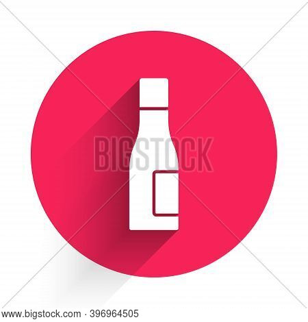 White Bottle Of Water Icon Isolated With Long Shadow. Soda Aqua Drink Sign. Red Circle Button. Vecto