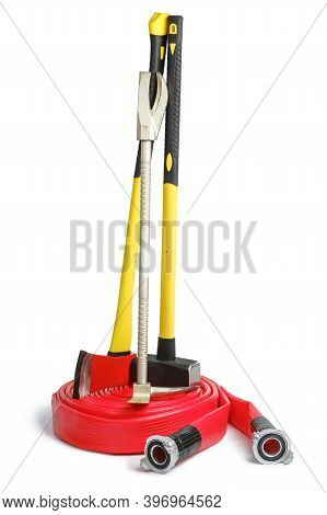 Large Yellow Sledgehammer, Axe, Hooligan Pinch-bar On Red Fire Hose From Firemans Toolbox Isolated O