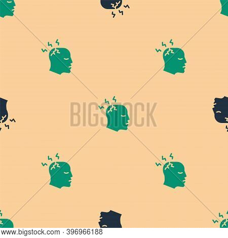Green And Black Man Having Headache, Migraine Icon Isolated Seamless Pattern On Beige Background. Ve