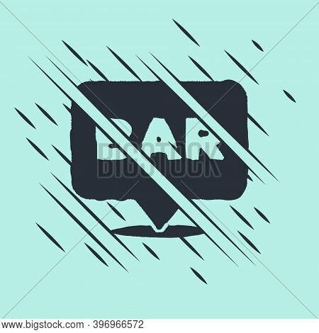 Black Alcohol Or Beer Bar Location Icon Isolated On Green Background. Symbol Of Drinking, Pub, Club,