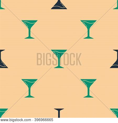 Green And Black Martini Glass Icon Isolated Seamless Pattern On Beige Background. Cocktail Icon. Win