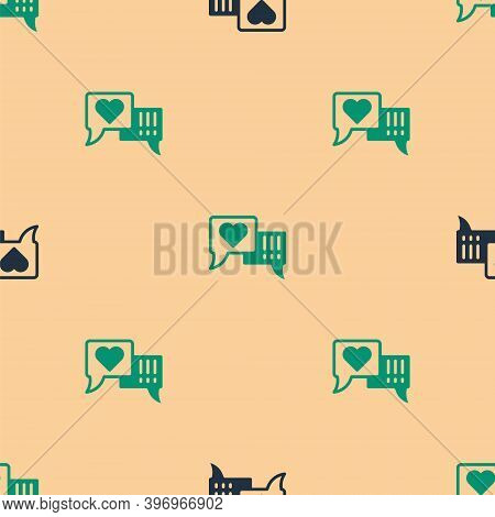 Green And Black Heart In Speech Bubble Icon Isolated Seamless Pattern On Beige Background. Vector