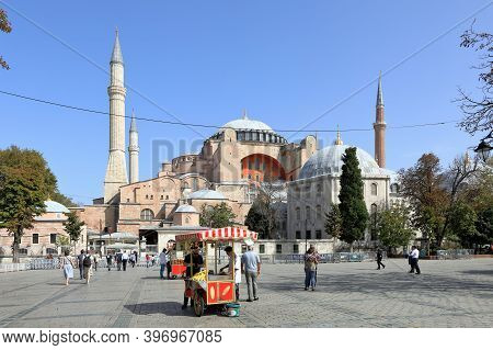 Istanbul, Turkey - October 05, 2020. View Of Hagia Sophia Cathedral And Murad Iii Mausoleum. Sultana