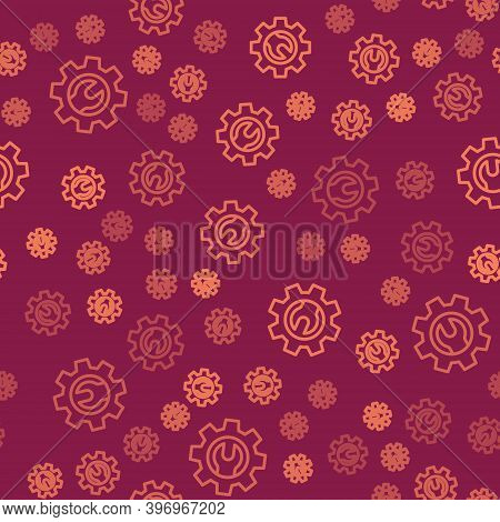 Brown Line Wrench Spanner And Gear Icon Isolated Seamless Pattern On Red Background. Adjusting, Serv