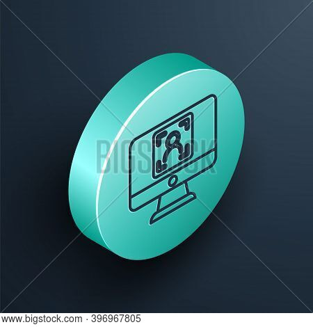Isometric Line Monitor With Face Recognition Icon Isolated On Black Background. Face Identification