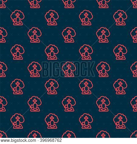 Red Line Man Graves Funeral Sorrow Icon Isolated Seamless Pattern On Black Background. The Emotion O