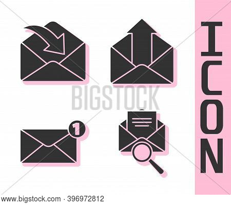 Set Envelope With Magnifying Glass, Envelope, Envelope And Outgoing Mail Icon. Vector