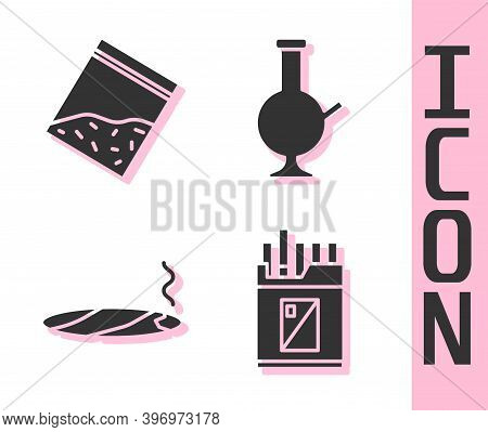 Set Open Cigarettes Pack Box, Plastic Bag Of Drug, Cigar With Smoke And Glass Bong For Smoking Marij