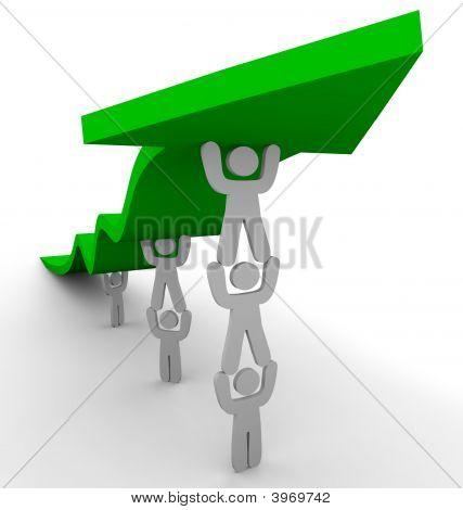 Many Pushing Up Green Arrow