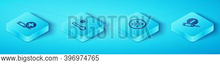 Set Isometric Digital Thermometer, Meteorology, And Snowflake Icon. Vector
