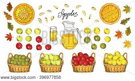 Set Of Apples, Apple Slices, Apple Pies, Apple Juice Jug, Basket Of Harvest