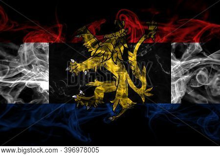 Benelux Smoke Flag Isolated On Black Background