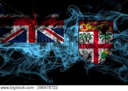 Fiji, Fijian Smoke Flag Isolated On Black Background