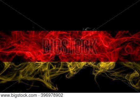 Germany, German, Deutschland Smoke Flag Isolated On Black Background