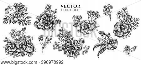 Flower Bouquet Of Black And White Wax Flower, Forget Me Not Flower, Tansy, Ardisia, Brassica, Decora