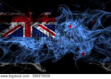 New Zealand, Ross Dependency Smoke Flag Isolated On Black Background