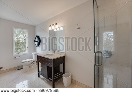Bathroom Has Been Updated And Remodeled With A New Vanity And Shower