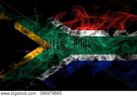 South Africa, African Smoke Flag Isolated On Black Background